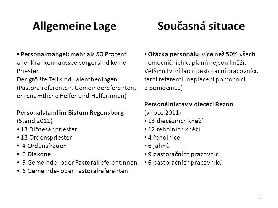Allgemeine LageSoučasná situace 1.Der Seelsorger ist nicht mehr Einzelgänger, sondern Mitglied im therapeutischen Team – besonders in Palliativstationen.