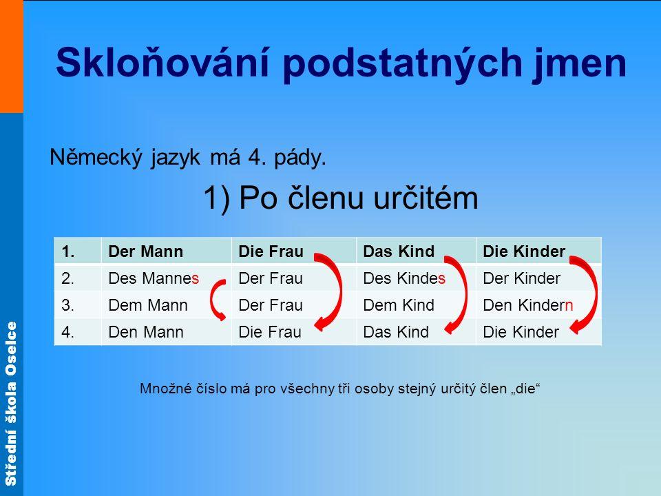 Střední škola Oselce Skloňování podstatných jmen Německý jazyk má 4. pády. 1) Po členu určitém Množné číslo má pro všechny tři osoby stejný určitý čle