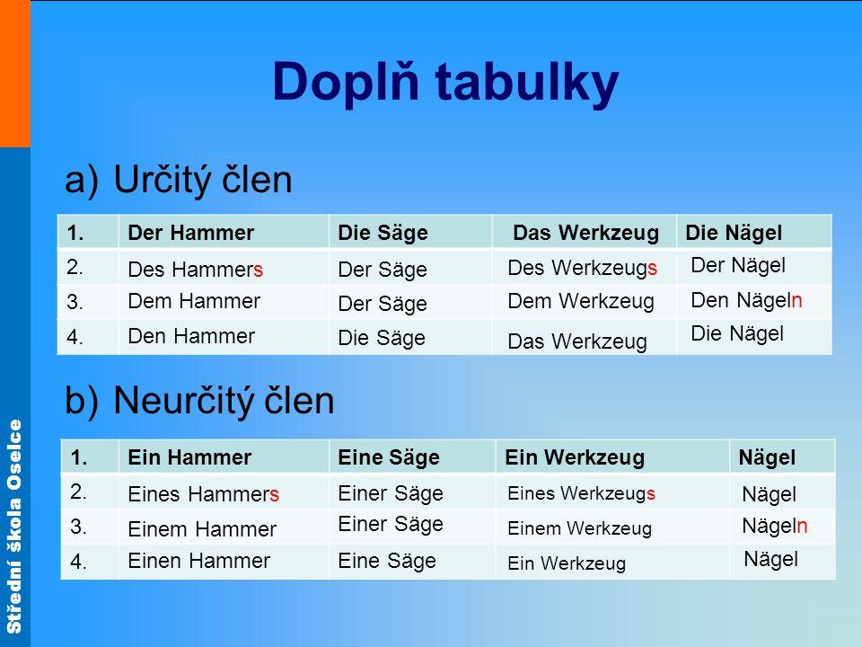 Střední škola Oselce Doplň tabulky a)Určitý člen b)Neurčitý člen 1.Der HammerDie Säge Das WerkzeugDie Nägel 2. 3. 4. 1.Ein HammerEine SägeEin Werkzeug