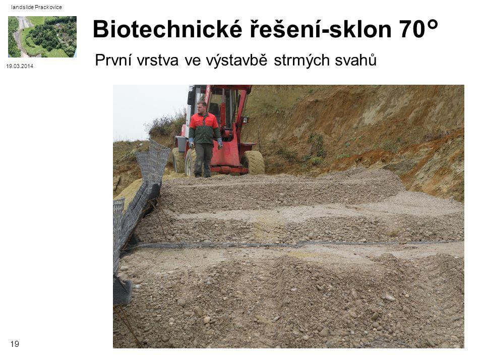 19.03.2014 landslide Prackovice 19 Biotechnické řešení-sklon 70° První vrstva ve výstavbě strmých svahů