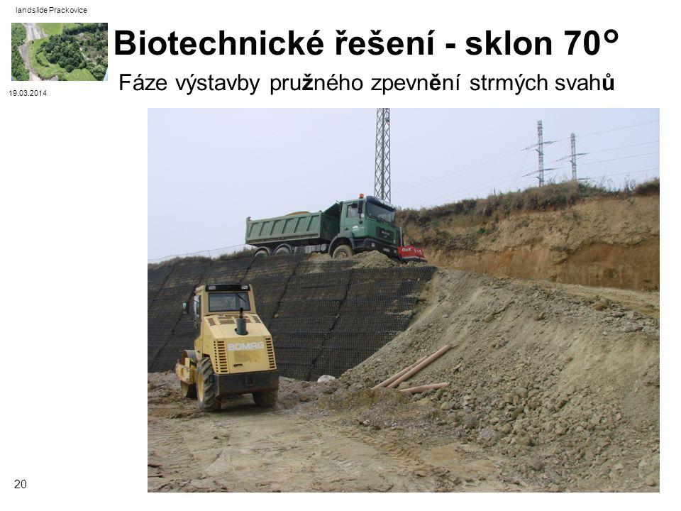 19.03.2014 landslide Prackovice 20 Fáze výstavby pružného zpevnění strmých svahů Biotechnické řešení - sklon 70°