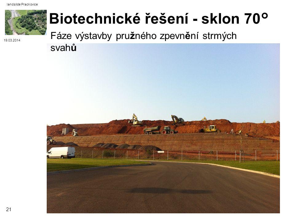19.03.2014 landslide Prackovice 21 Biotechnické řešení - sklon 70° Fáze výstavby pružného zpevnění strmých svahů