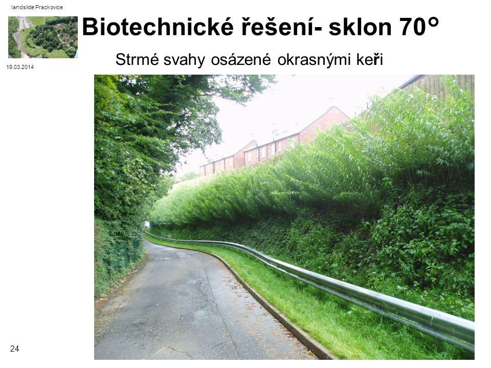 19.03.2014 landslide Prackovice 24 Strmé svahy osázené okrasnými keři Biotechnické řešení- sklon 70°
