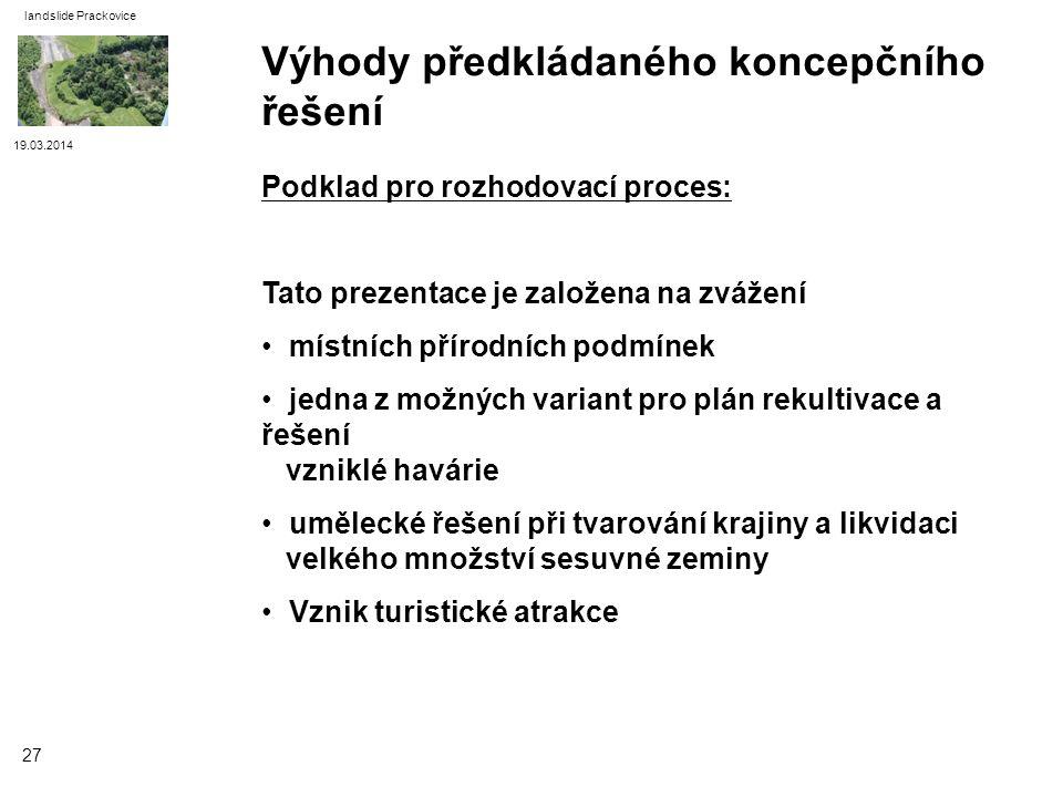 19.03.2014 landslide Prackovice 27 Podklad pro rozhodovací proces: Tato prezentace je založena na zvážení místních přírodních podmínek jedna z možných