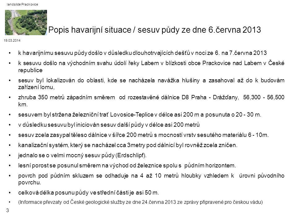19.03.2014 landslide Prackovice k havarijnímu sesuvu půdy došlo v důsledku dlouhotrvajících dešťů v noci ze 6. na 7.června 2013 k sesuvu došlo na vých