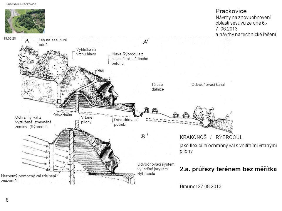 19.03.2014 landslide Prackovice 9 KRAKONOŠ / RÝBRCOUL jako flexibilní ochranný val s vnitřními vrtanými pilony 2.b.