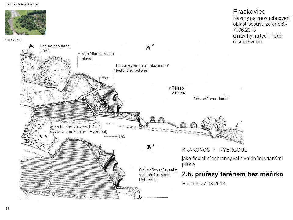 19.03.2014 landslide Prackovice 10 KRAKONOŠ / RÝBRCOUL jako flexibilní ochranný val s vestavěnou výletní jeskyní 2.c.