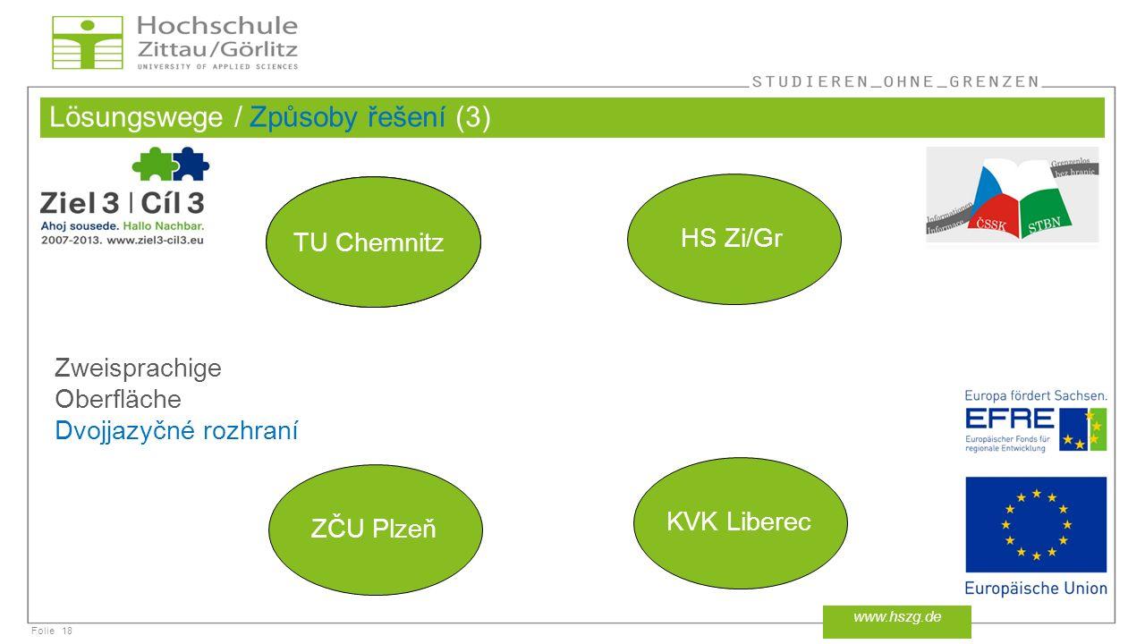 Folie Lösungswege / Způsoby řešení (3) 18 www.hszg.de TU Chemnitz HS Zi/Gr ZČU Plzeň KVK Liberec Zweisprachige Oberfläche Dvojjazyčné rozhraní