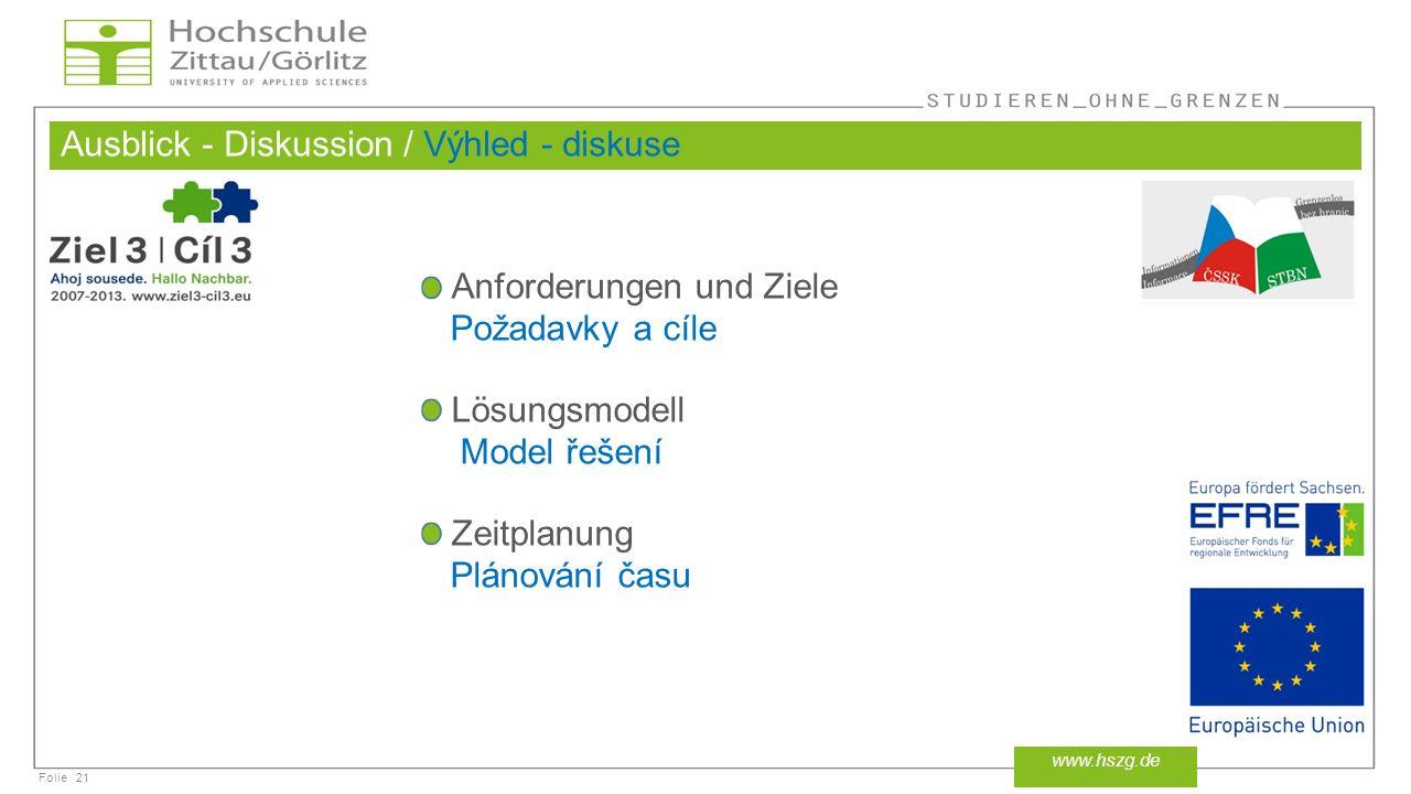 Folie Ausblick - Diskussion / Výhled - diskuse 21 www.hszg.de Anforderungen und Ziele Požadavky a cíle Lösungsmodell Model řešení Zeitplanung Plánování času