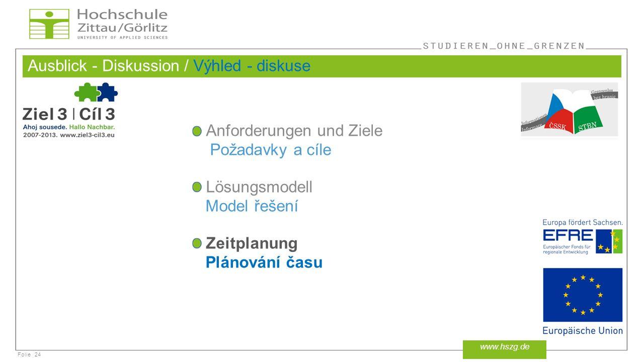 Folie Ausblick - Diskussion / Výhled - diskuse 24 www.hszg.de Anforderungen und Ziele Požadavky a cíle Lösungsmodell Model řešení Zeitplanung Plánování času