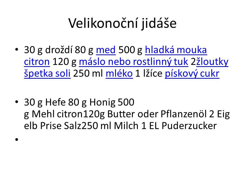 Velikonoční jidáše 30 g droždí 80 g med 500 g hladká mouka citron 120 g máslo nebo rostlinný tuk 2žloutky špetka soli 250 ml mléko 1 lžíce pískový cuk