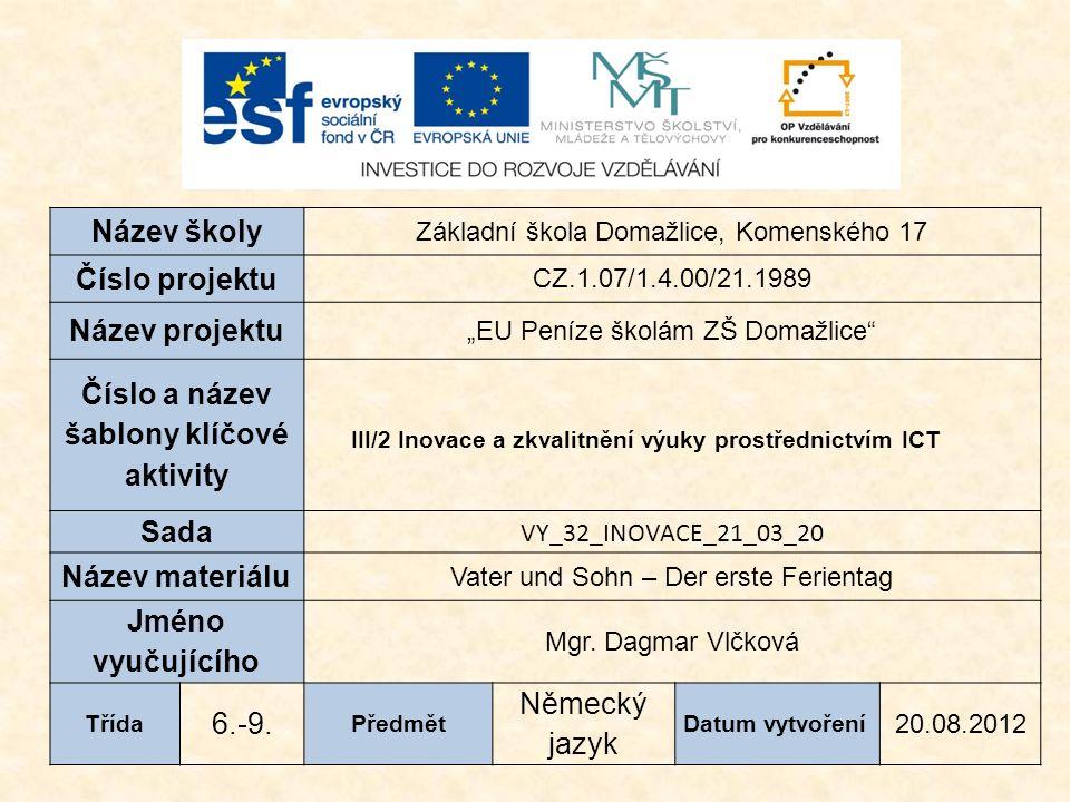 Vzdělávací oblast: Jazyk a jazyková komunikace Vzdělávací obor: Cizí jazyk Tematický okruh: Receptivní, produktivní a interaktivní řečové dovednosti Určeno pro: 6.-9.