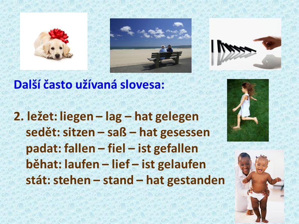 Další často užívaná slovesa: 2. ležet: liegen – lag – hat gelegen sedět: sitzen – saß – hat gesessen padat: fallen – fiel – ist gefallen běhat: laufen