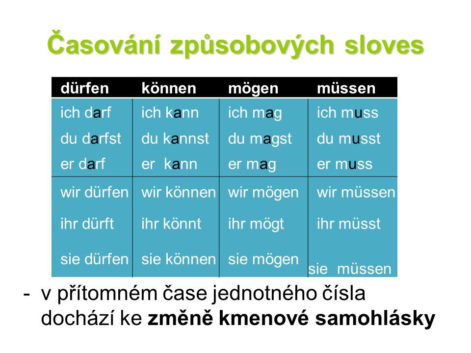 Časování způsobových sloves -v přítomném čase jednotného čísla dochází ke změně kmenové samohlásky dürfen können mögen müssen ich darf ich kann ich ma