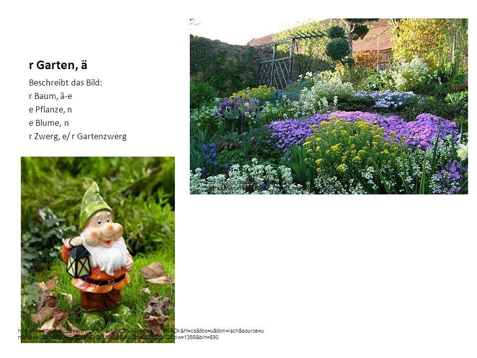 r Garten, ä Beschreibt das Bild: r Baum, ä-e e Pflanze, n e Blume, n r Zwerg, e/ r Gartenzwerg http://hobby.idnes.cz/dlouha-uzka-zahrada-soutez-dd2-/hobby- zahrada.aspx?c=A120917_131134_hobby-zahrada_mce http://www.google.cz/search?q=zahradn%C3%AD+trpasl%C3%ADk&hl=cs&tbo=u&tbm=isch&source=u niv&sa=X&ei=bM0XUY2_L9P24QSUz4C4Bw&ved=0CEcQsAQ&biw=1366&bih=590