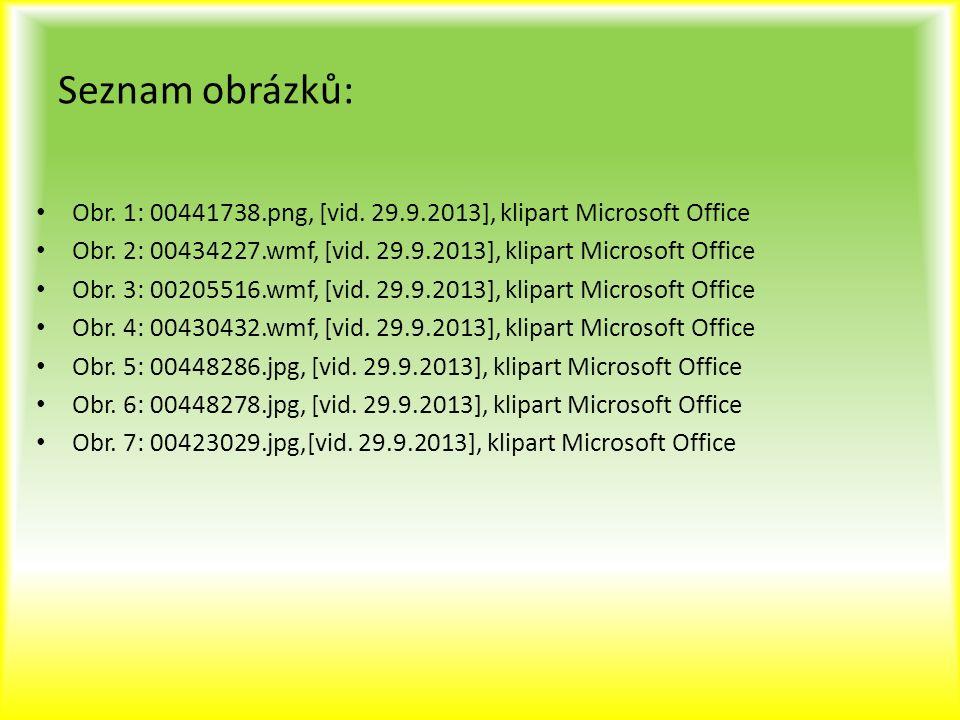 Seznam obrázků: Obr. 1: 00441738.png, [vid. 29.9.2013], klipart Microsoft Office Obr. 2: 00434227.wmf, [vid. 29.9.2013], klipart Microsoft Office Obr.