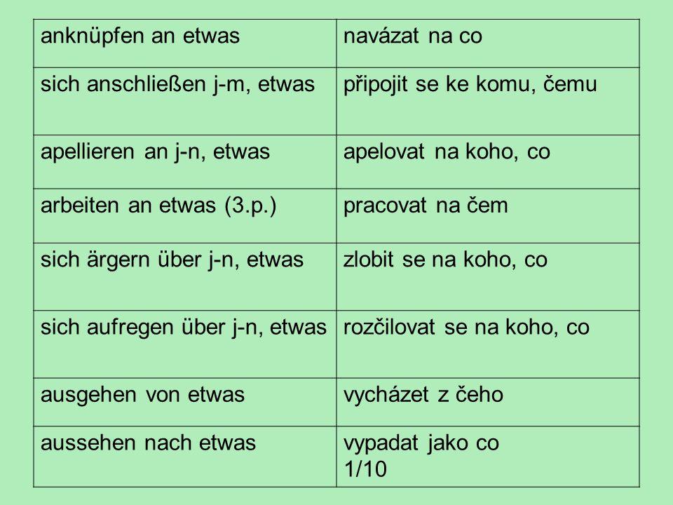 předložkové vazby podstatných a přídavných jmen s Angebot an etw.