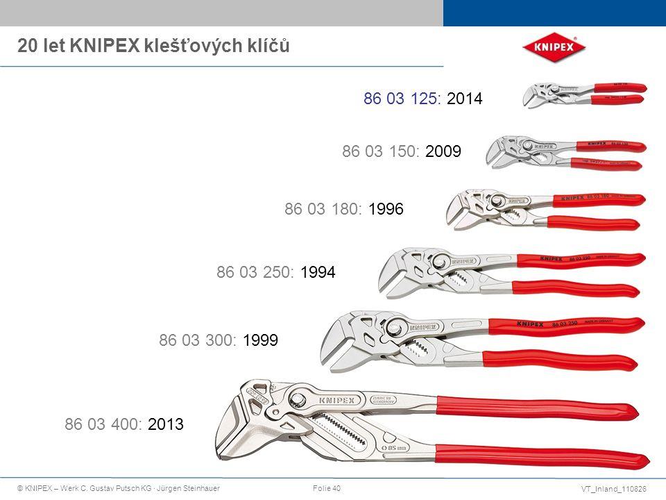 VT_Inland_110826 © KNIPEX – Werk C. Gustav Putsch KG · Jürgen SteinhauerFolie 40 20 let KNIPEX klešťových klíčů 86 03 250: 1994 86 03 300: 1999 86 03
