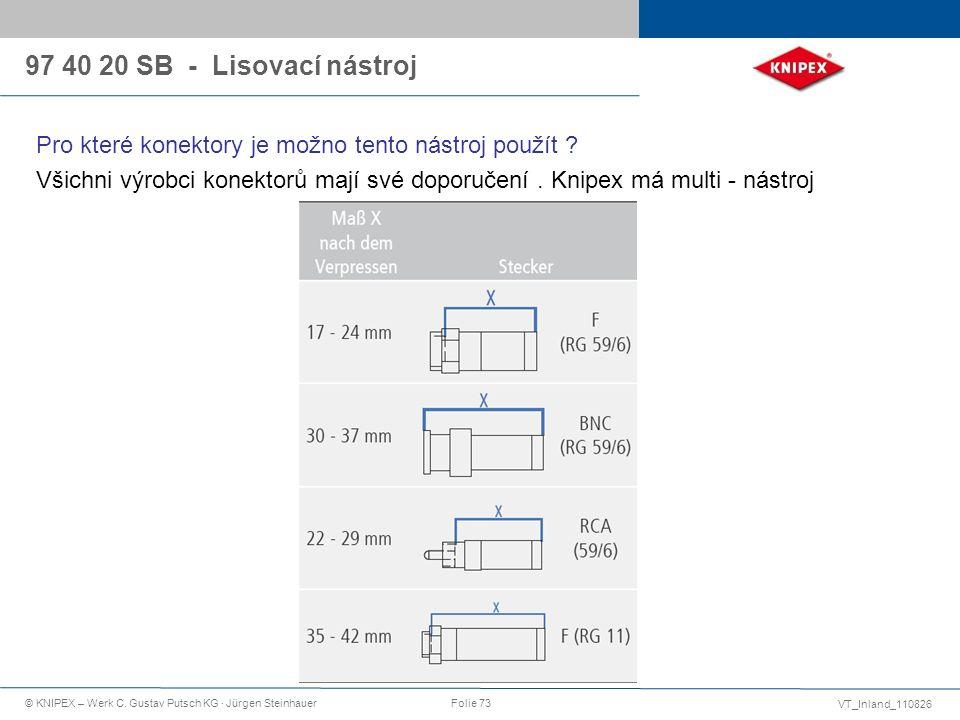 VT_Inland_110826 © KNIPEX – Werk C. Gustav Putsch KG · Jürgen SteinhauerFolie 73 Pro které konektory je možno tento nástroj použít ? Všichni výrobci k
