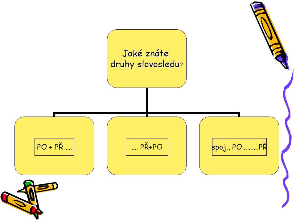 Jaké znáte druhy slovosledu druhy slovosledu ? přímýnepřímývěty vedlejší PO + PŘ ….…. PŘ+POspoj., PO……….PŘ