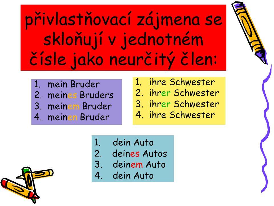 přivlastňovací zájmena se skloňují v jednotném čísle jako neurčitý člen: 1.mein Bruder 2.meines Bruders 3.meinem Bruder 4.meinen Bruder 1.ihre Schwest