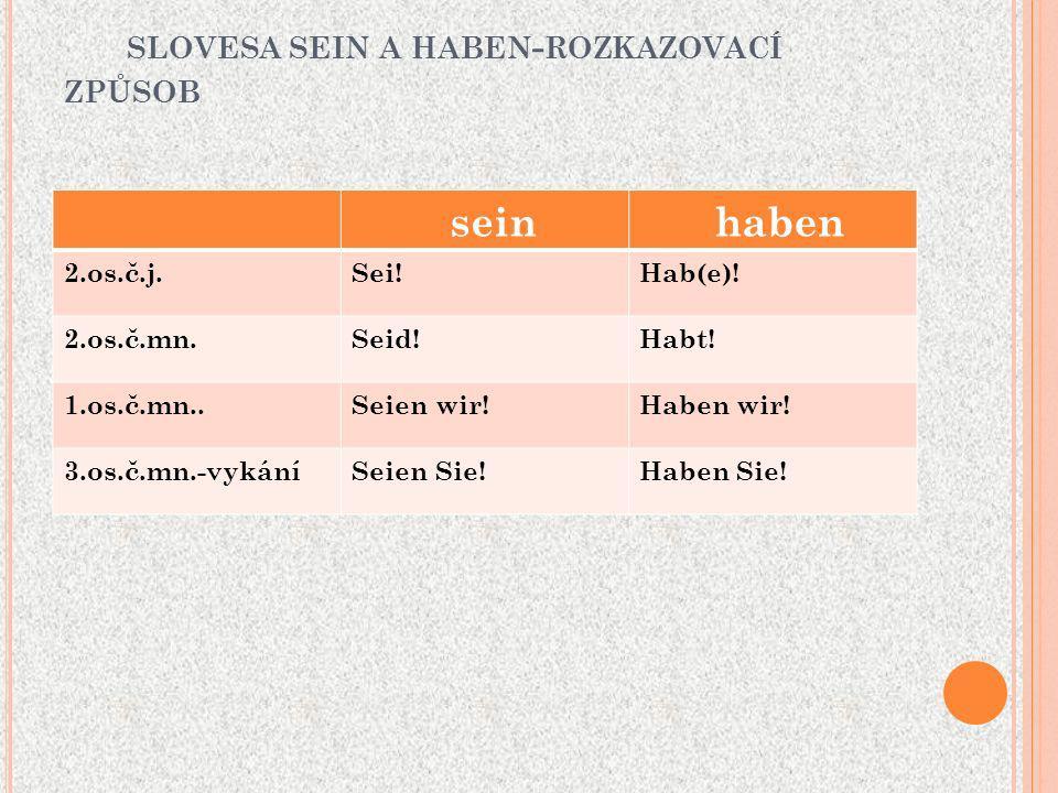 SLOVESA SEIN A HABEN - ROZKAZOVACÍ ZPŮSOB sein haben 2.os.č.j.Sei!Hab(e).