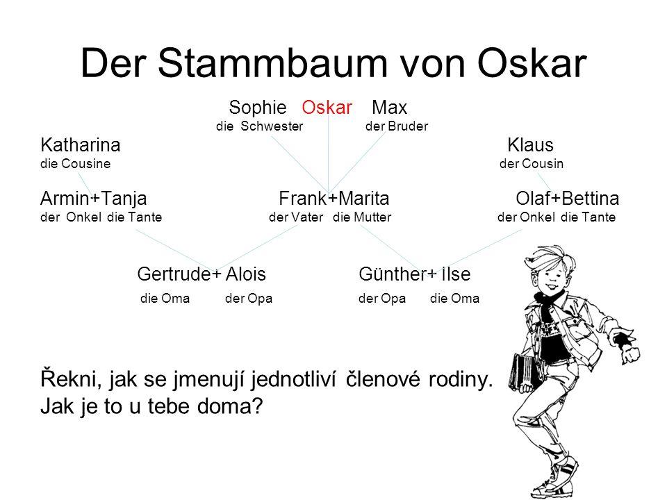Der Stammbaum von Oskar Sophie Oskar Max die Schwester der Bruder Katharina Klaus die Cousine der Cousin Armin+Tanja Frank+Marita Olaf+Bettina der Onk