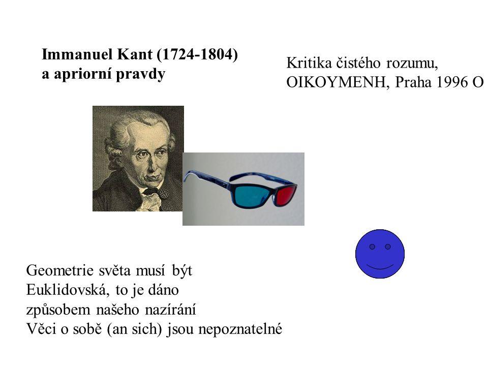 Immanuel Kant (1724-1804) a apriorní pravdy Geometrie světa musí být Euklidovská, to je dáno způsobem našeho nazírání Věci o sobě (an sich) jsou nepoznatelné Kritika čistého rozumu, OIKOYMENH, Praha 1996 O