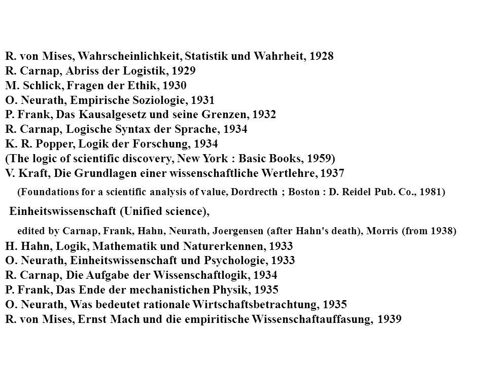 R.von Mises, Wahrscheinlichkeit, Statistik und Wahrheit, 1928 R.