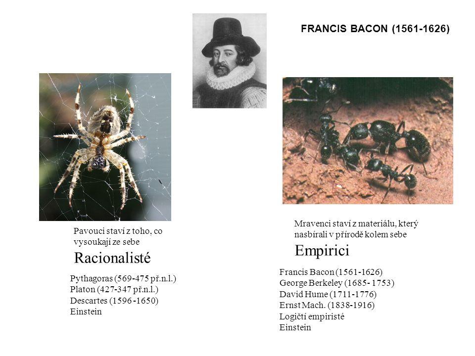 Pavouci staví z toho, co vysoukají ze sebe Racionalisté Mravenci staví z materiálu, který nasbírali v přírodě kolem sebe Empirici FRANCIS BACON (1561-1626) Pythagoras (569-475 př.n.l.) Platon (427-347 př.n.l.) Descartes (1596 -1650) Einstein Francis Bacon (1561-1626) George Berkeley (1685- 1753) David Hume (1711-1776) Ernst Mach.