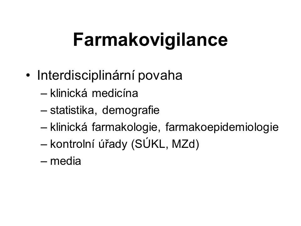 Farmakovigilance Interdisciplinární povaha –klinická medicína –statistika, demografie –klinická farmakologie, farmakoepidemiologie –kontrolní úřady (S