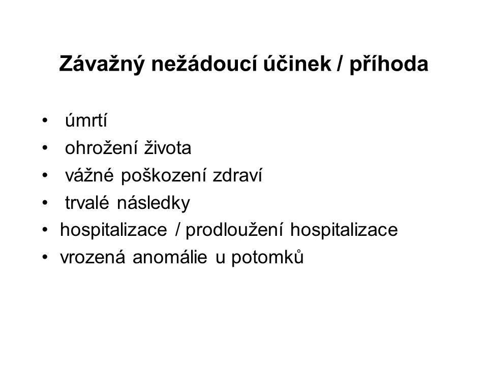 Závažný nežádoucí účinek / příhoda úmrtí ohrožení života vážné poškození zdraví trvalé následky hospitalizace / prodloužení hospitalizace vrozená anom