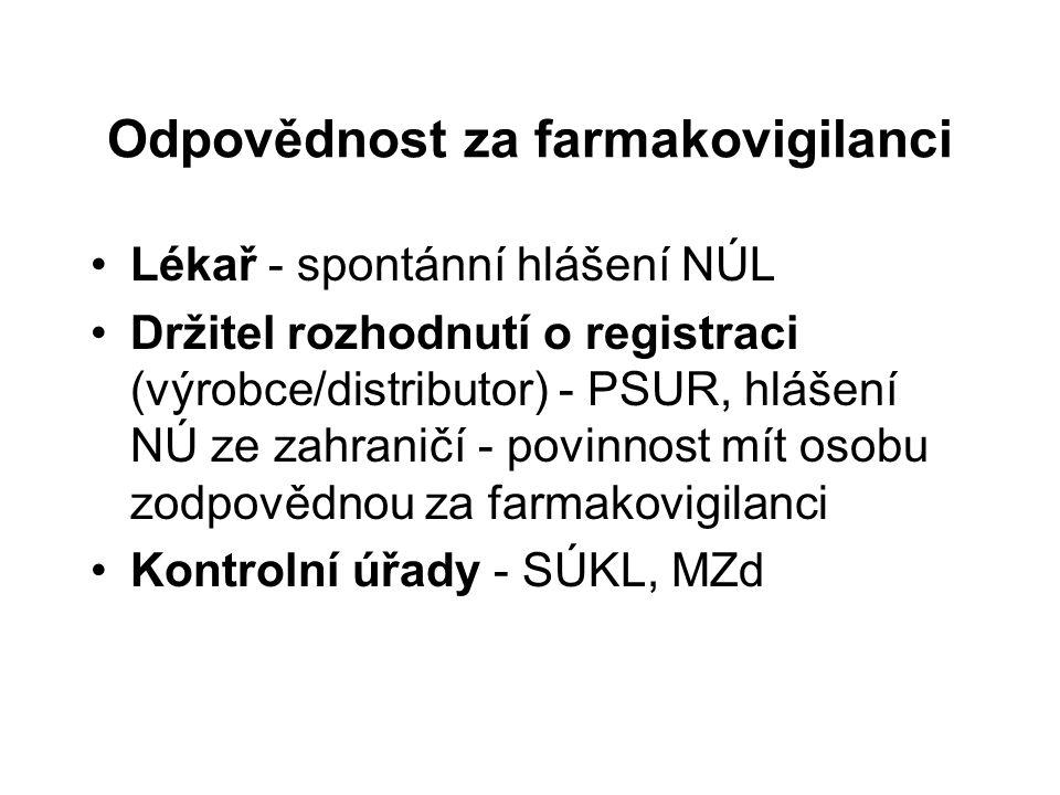 Odpovědnost za farmakovigilanci Lékař - spontánní hlášení NÚL Držitel rozhodnutí o registraci (výrobce/distributor) - PSUR, hlášení NÚ ze zahraničí -