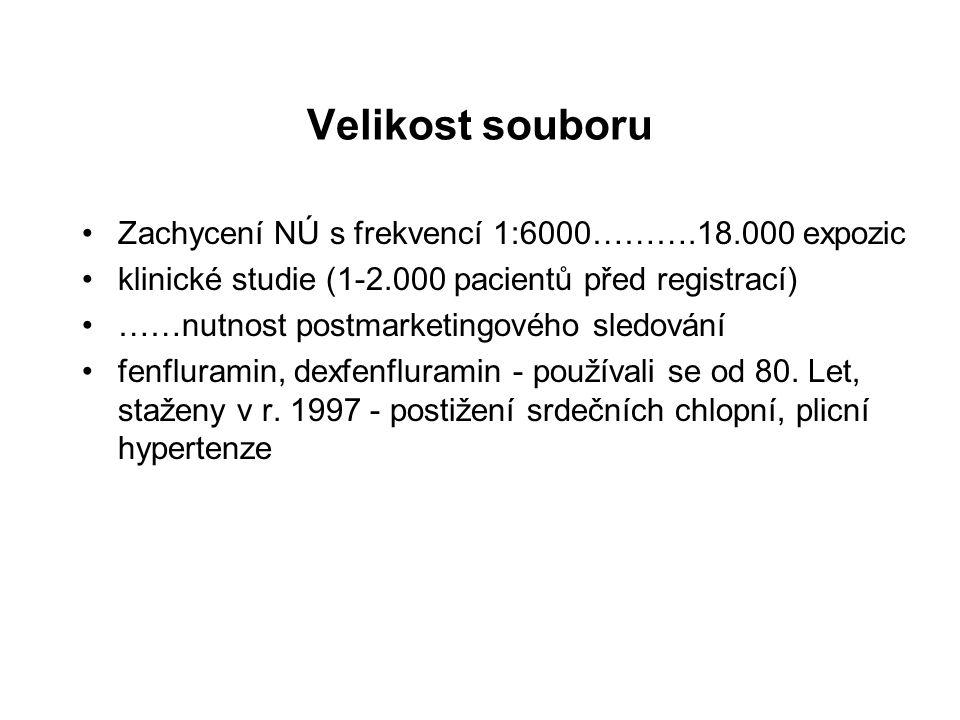 Velikost souboru Zachycení NÚ s frekvencí 1:6000……….18.000 expozic klinické studie (1-2.000 pacientů před registrací) ……nutnost postmarketingového sle