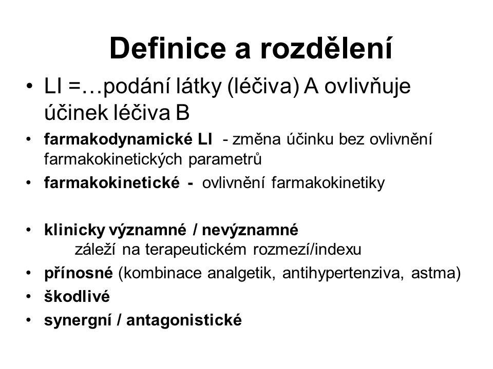 Definice a rozdělení LI =…podání látky (léčiva) A ovlivňuje účinek léčiva B farmakodynamické LI - změna účinku bez ovlivnění farmakokinetických parame