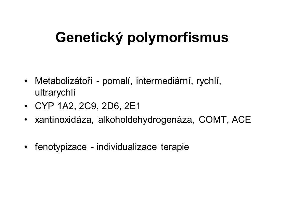 Genetický polymorfismus Metabolizátoři - pomalí, intermediární, rychlí, ultrarychlí CYP 1A2, 2C9, 2D6, 2E1 xantinoxidáza, alkoholdehydrogenáza, COMT,