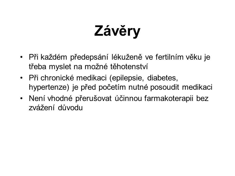 Závěry Při každém předepsání lékuženě ve fertilním věku je třeba myslet na možné těhotenství Při chronické medikaci (epilepsie, diabetes, hypertenze)