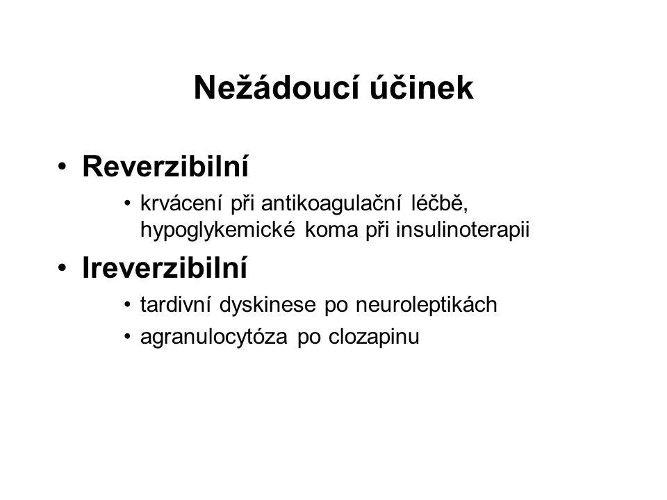Nežádoucí účinek Reverzibilní krvácení při antikoagulační léčbě, hypoglykemické koma při insulinoterapii Ireverzibilní tardivní dyskinese po neurolept