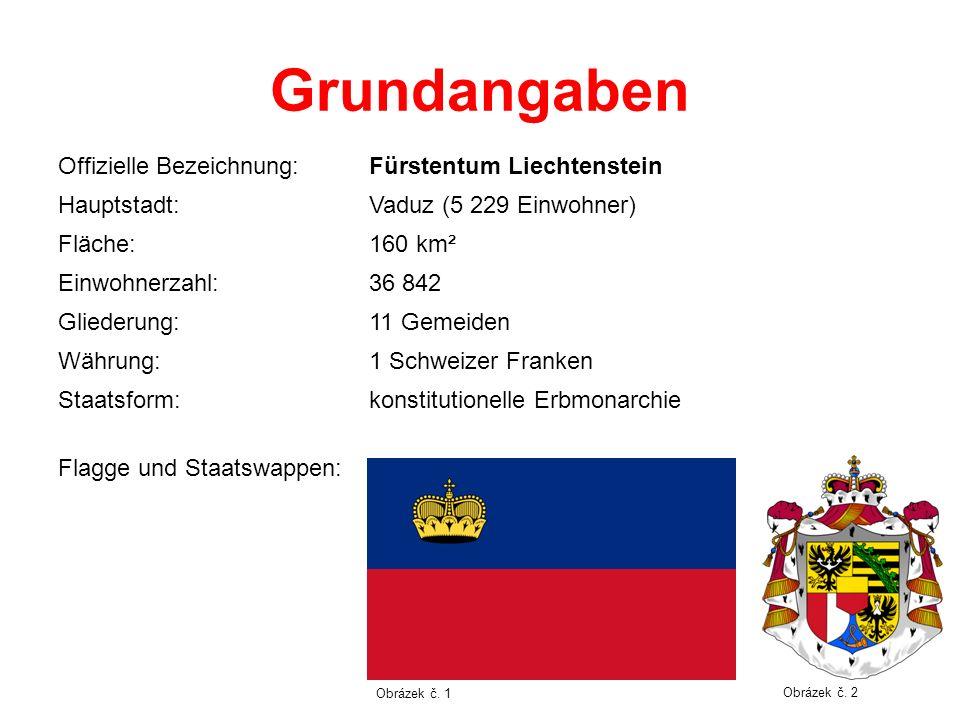 Grundangaben Offizielle Bezeichnung:Fürstentum Liechtenstein Hauptstadt:Vaduz (5 229 Einwohner) Fläche:160 km² Einwohnerzahl:36 842 Gliederung:11 Geme