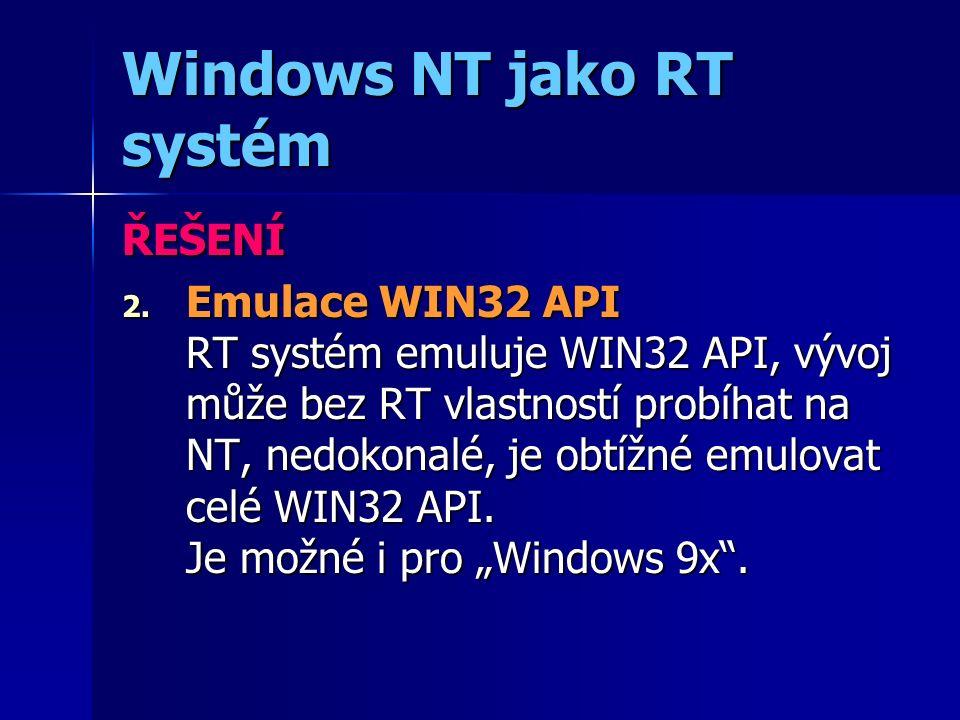 Emulace WIN32 API WIN 32 API PC Systém RT OS PC periferie RT periferie Windows app. RT app.