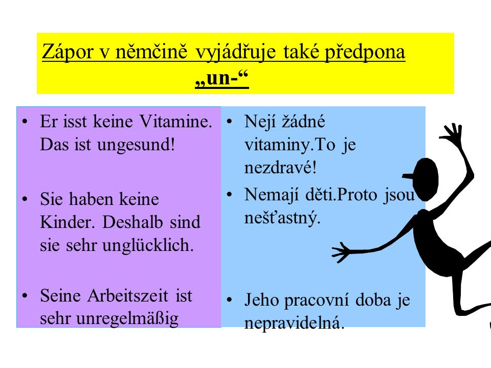 Zápor v němčině vyjádřuje také předpona un- Er isst keine Vitamine. Das ist ungesund! Sie haben keine Kinder. Deshalb sind sie sehr unglücklich. Seine