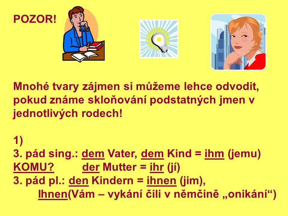 POZOR! Mnohé tvary zájmen si můžeme lehce odvodit, pokud známe skloňování podstatných jmen v jednotlivých rodech! 1) 3. pád sing.: dem Vater, dem Kind