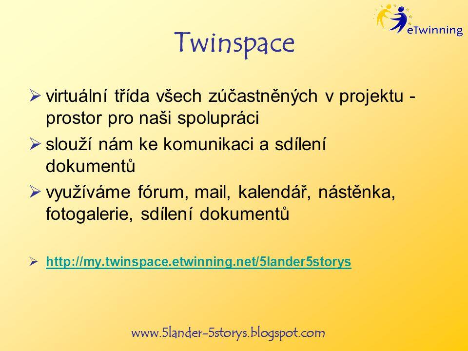 www.5lander-5storys.blogspot.com Twinspace virtuální třída všech zúčastněných v projektu - prostor pro naši spolupráci slouží nám ke komunikaci a sdílení dokumentů využíváme fórum, mail, kalendář, nástěnka, fotogalerie, sdílení dokumentů http://my.twinspace.etwinning.net/5lander5storys