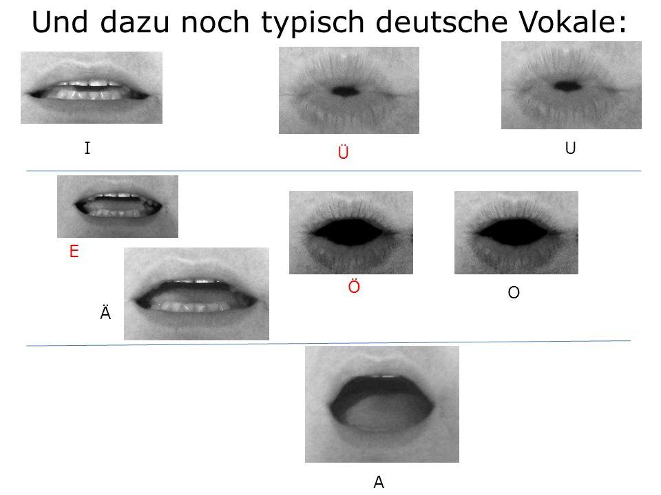 I E A O U Ä Und dazu noch typisch deutsche Vokale: Ü Ö