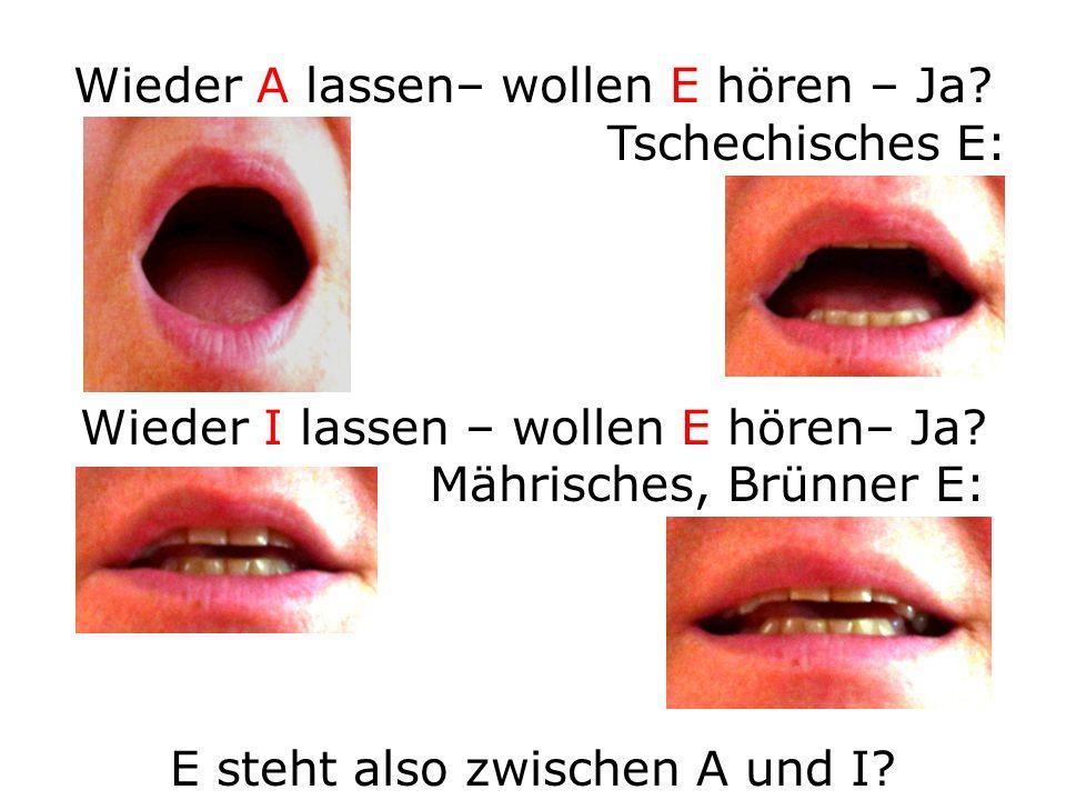 Wieder A lassen– wollen E hören – Ja? Tschechisches E: Wieder I lassen – wollen E hören– Ja? Mährisches, Brünner E: E steht also zwischen A und I?