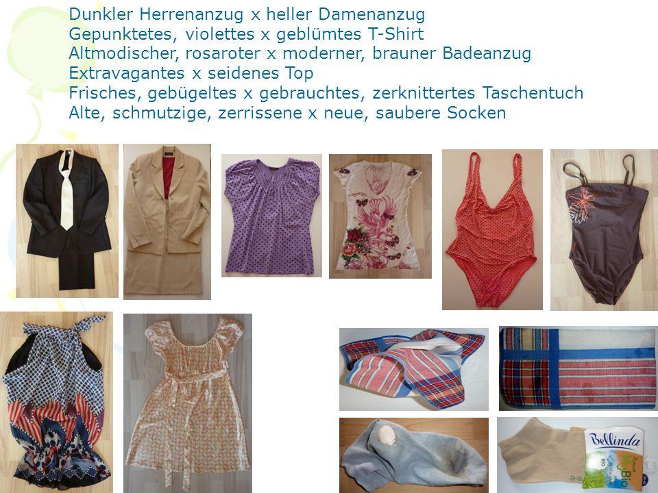 Dunkler Herrenanzug x heller Damenanzug Gepunktetes, violettes x geblümtes T-Shirt Altmodischer, rosaroter x moderner, brauner Badeanzug Extravagantes