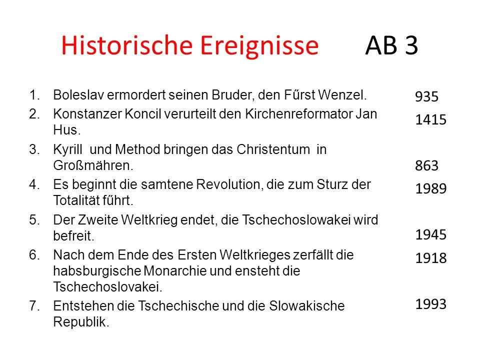 Historische Ereignisse AB 3 1.Boleslav ermordert seinen Bruder, den Fűrst Wenzel. 2.Konstanzer Koncil verurteilt den Kirchenreformator Jan Hus. 3.Kyri