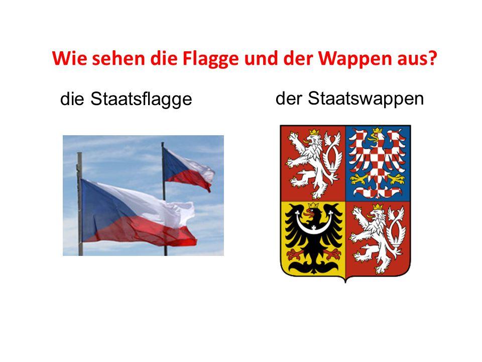 Wie sehen die Flagge und der Wappen aus? die Staatsflagge der Staatswappen
