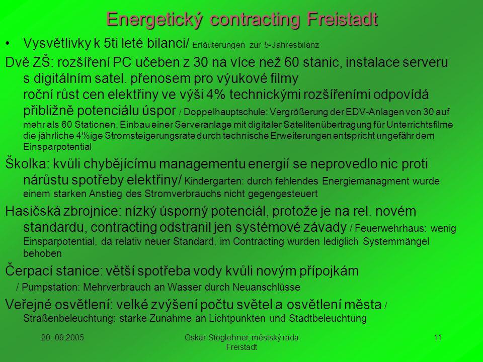 20. 09.2005Oskar Stöglehner, městský rada Freistadt 11 Energetický contracting Freistadt Vysvětlivky k 5ti leté bilanci/ Erläuterungen zur 5-Jahresbil