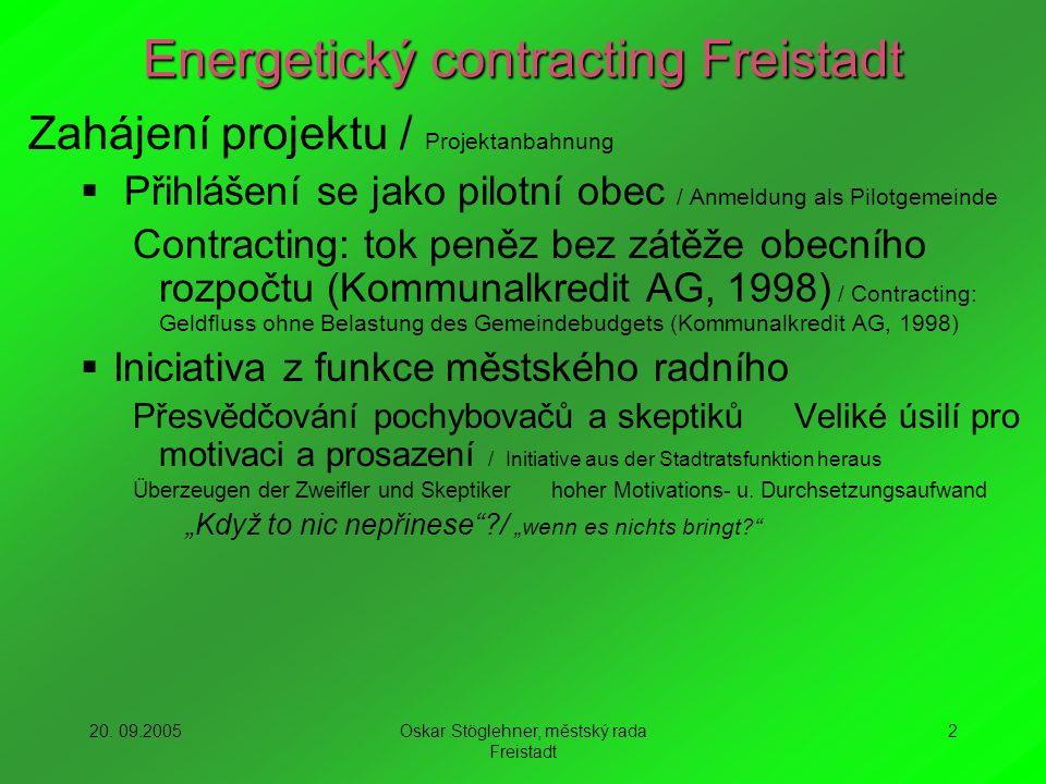 20. 09.2005Oskar Stöglehner, městský rada Freistadt 2 Energetický contracting Freistadt Zahájení projektu / Projektanbahnung Přihlášení se jako pilotn